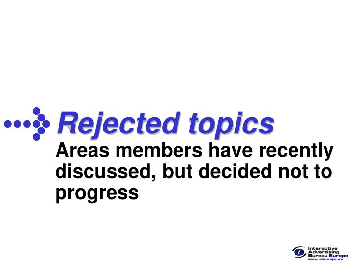 Rejected topics