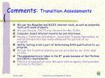 comments transition assessments