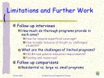 limitations and further work