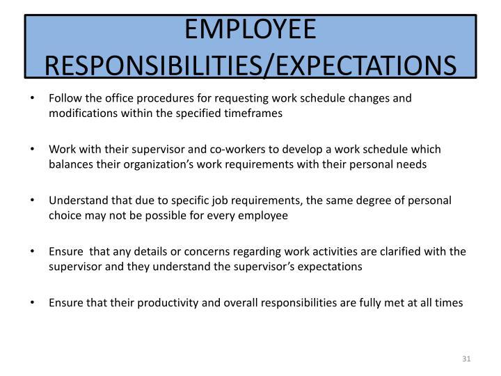 EMPLOYEE RESPONSIBILITIES/EXPECTATIONS