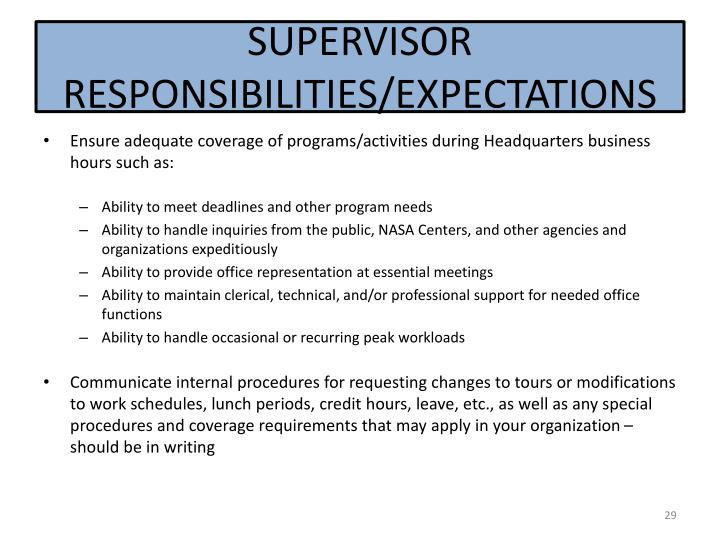 SUPERVISOR RESPONSIBILITIES/EXPECTATIONS