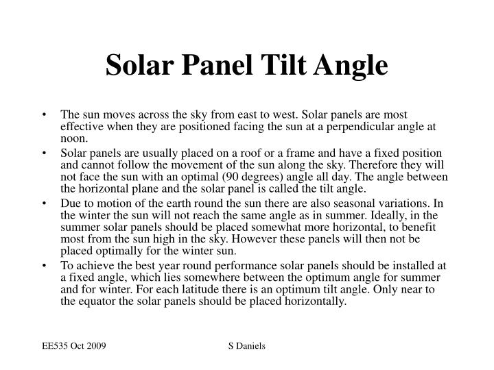 Solar Panel Tilt Angle
