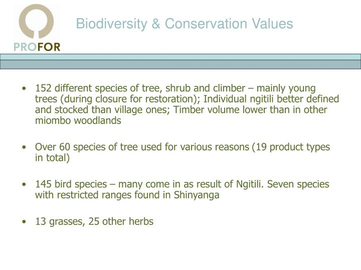 Biodiversity & Conservation Values