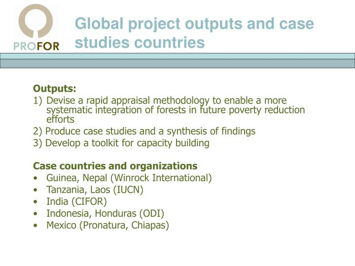 Global project outputs and case studies countries