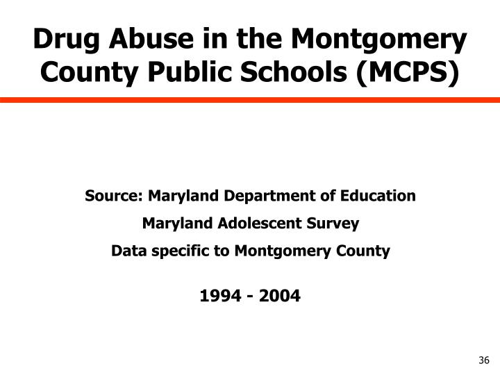 Drug Abuse in the Montgomery County Public Schools (MCPS)
