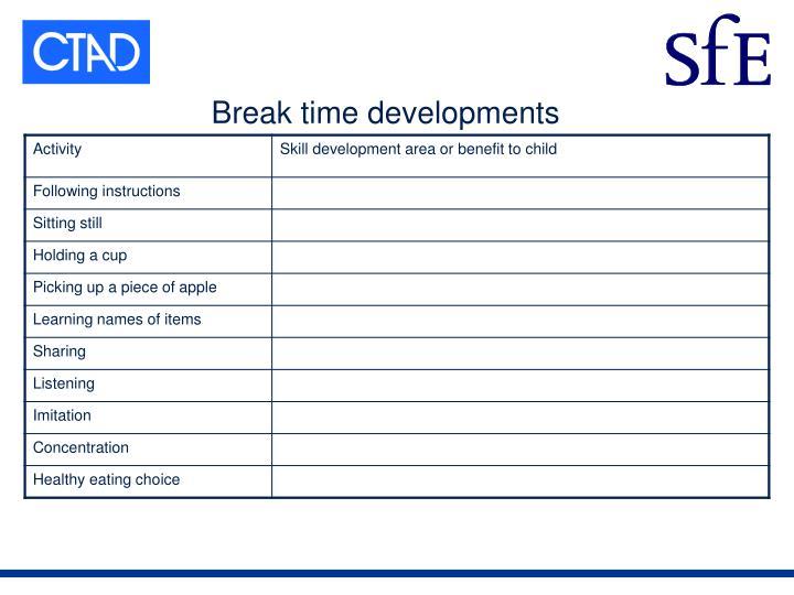 Break time developments
