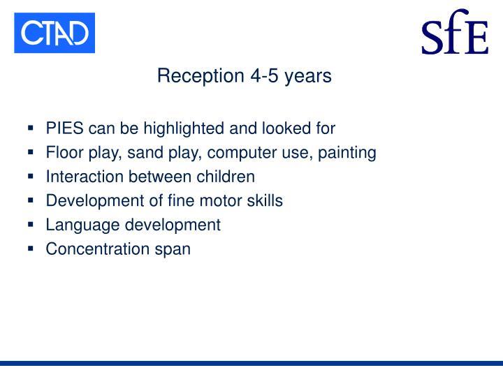 Reception 4-5 years