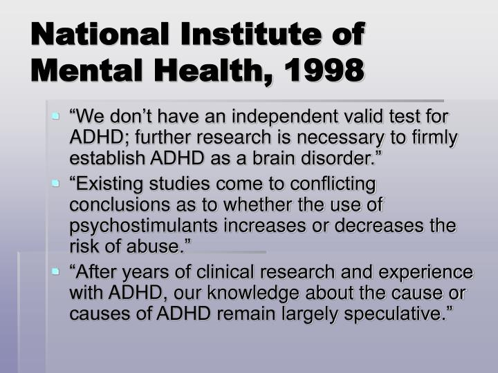 National Institute of Mental Health, 1998