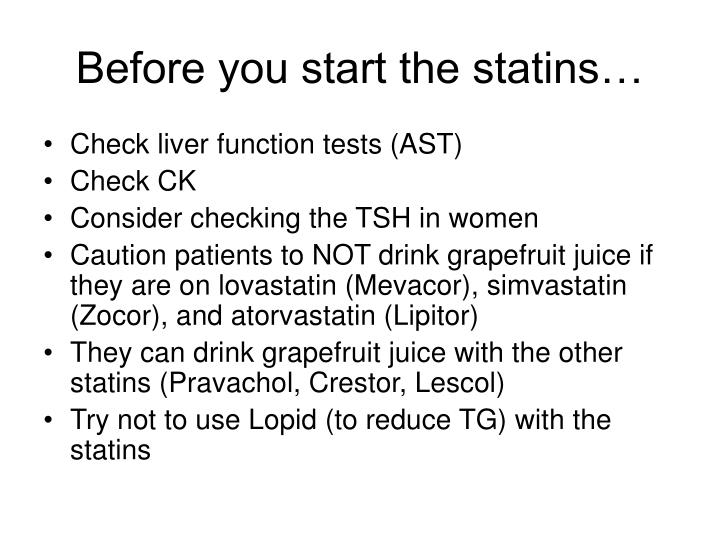 Before you start the statins…