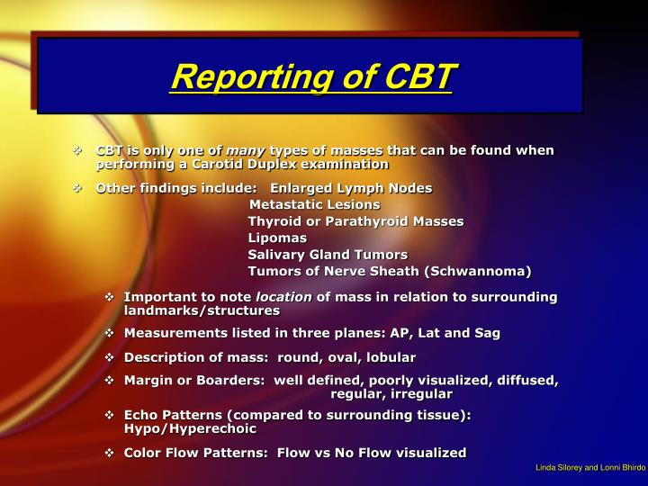 Reporting of CBT