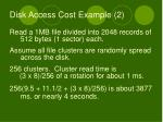 disk access cost example 2