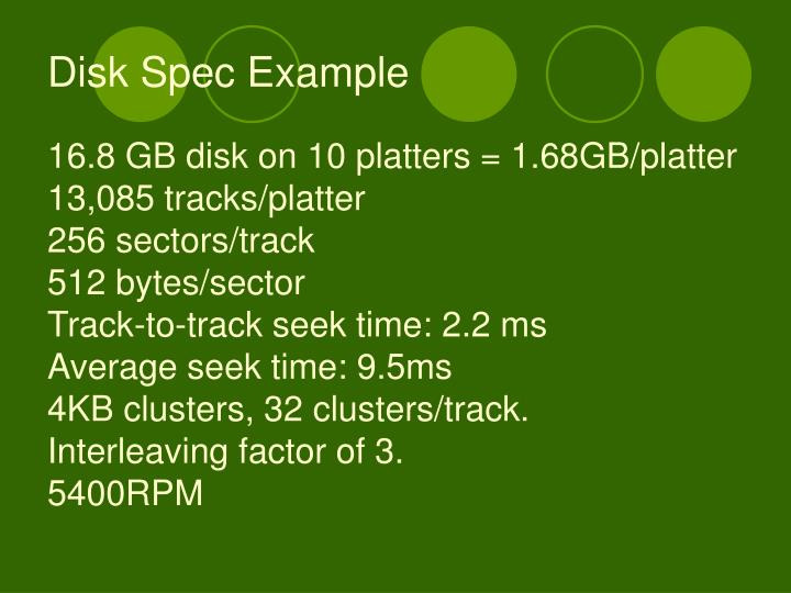 Disk Spec Example