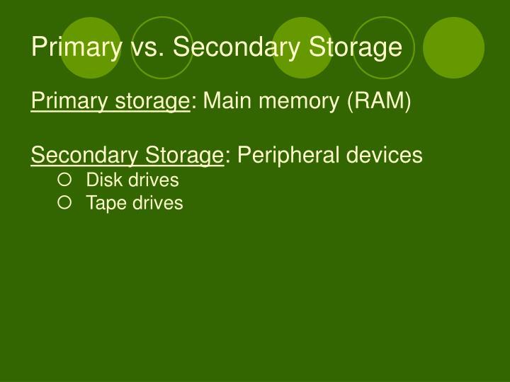 Primary vs. Secondary Storage