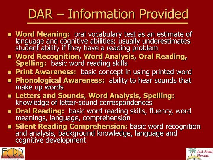 DAR – Information Provided