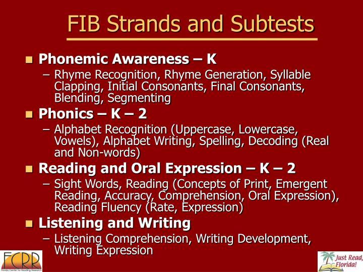 FIB Strands and Subtests