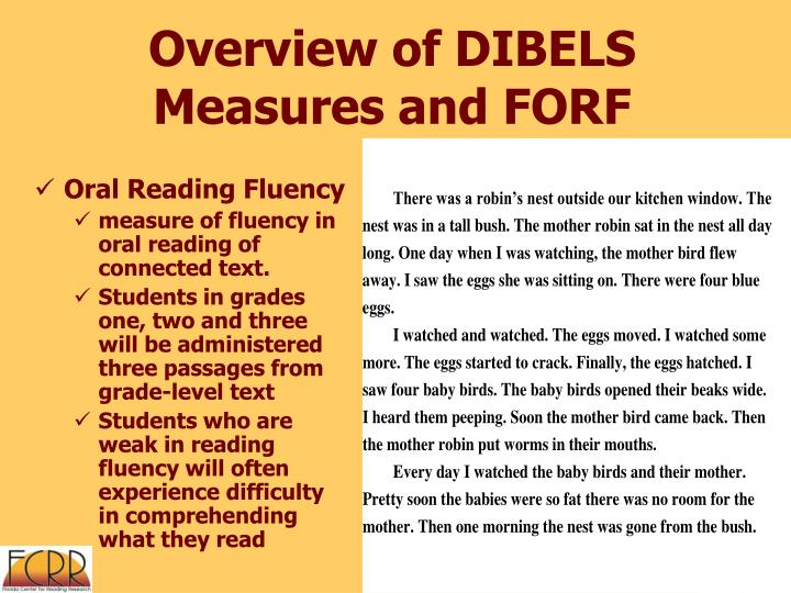Overview of DIBELS Measures and FORF