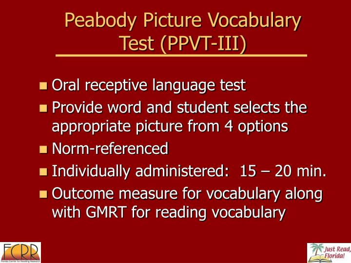 Peabody Picture Vocabulary Test (PPVT-III)