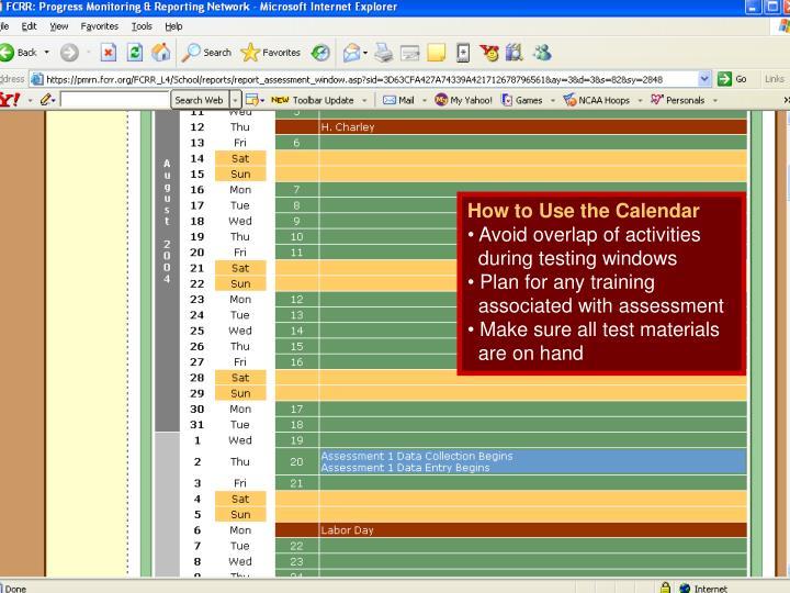 How to Use the Calendar