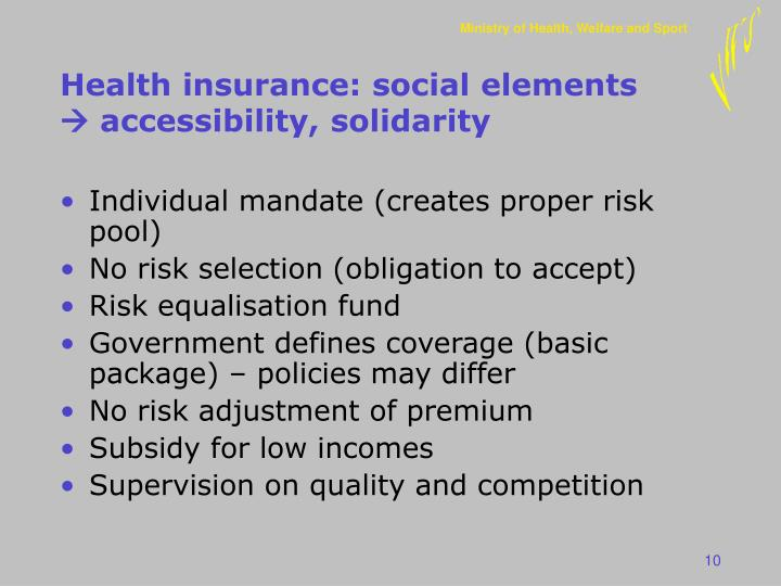 Health insurance: social elements