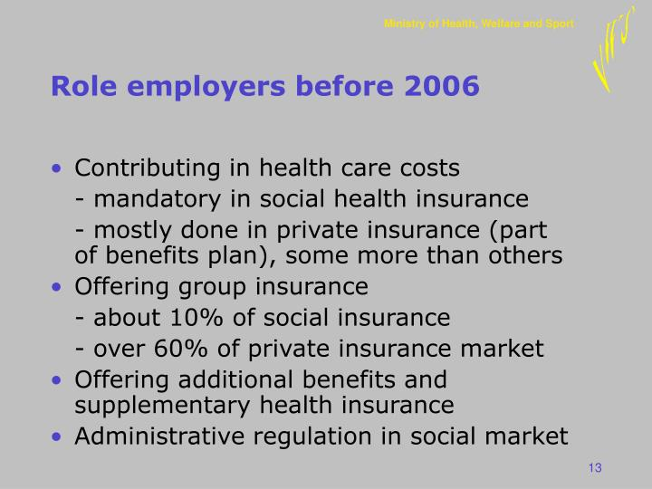 Role employers before 2006