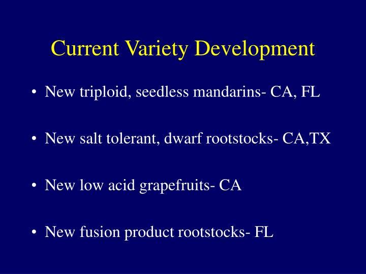Current Variety Development