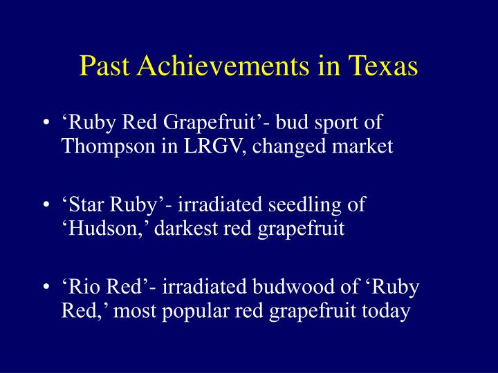 Past Achievements in Texas