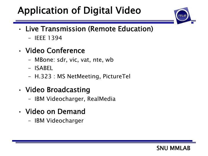Application of Digital Video