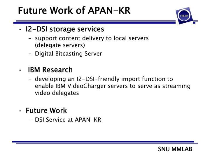 Future Work of APAN-KR