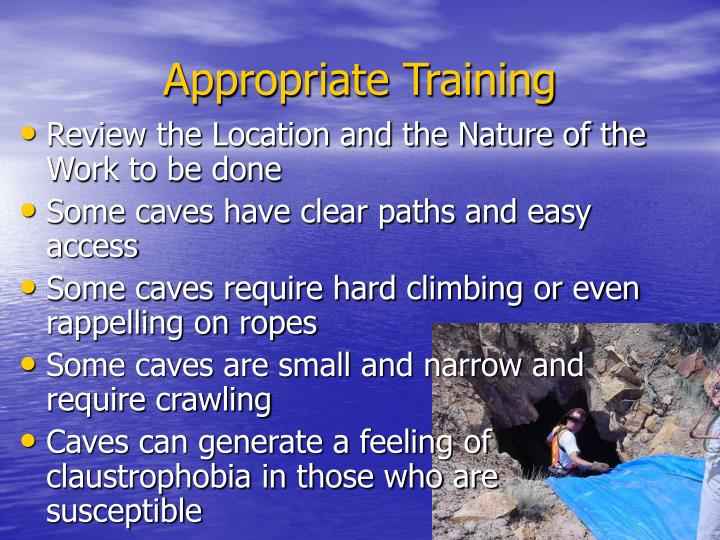 Appropriate Training