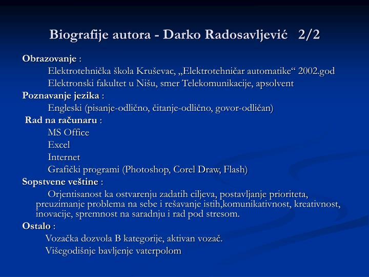 Biografije autora - Darko Radosavljević   2/2