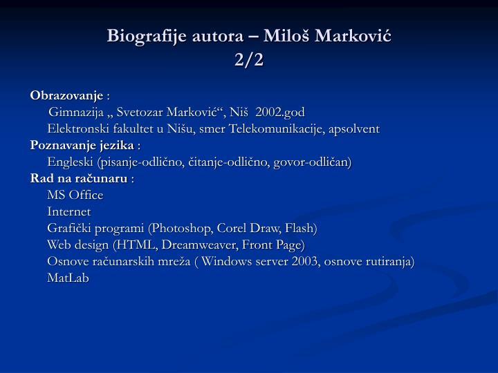 Biografije autora – Miloš Marković