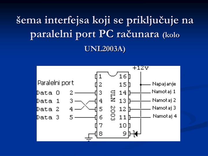 šema interfejsa koji se priključuje na paralelni port PC računara