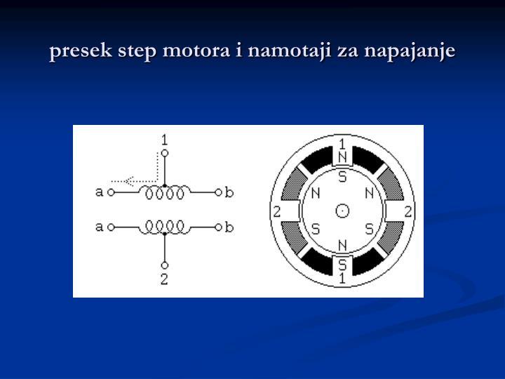 presek step motora i namotaji za napajanje