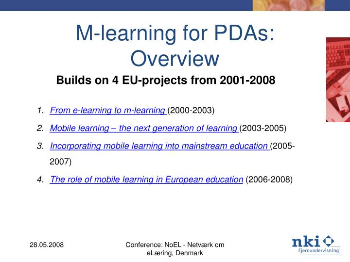 M-learning for PDAs: Overview