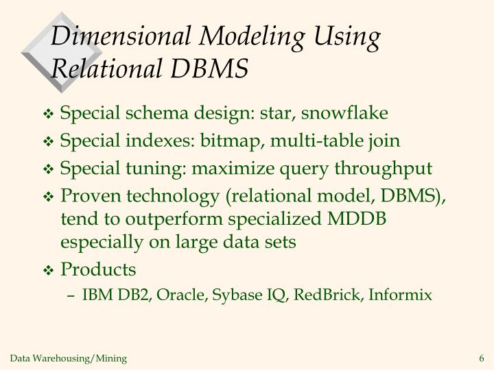 Dimensional Modeling Using Relational DBMS