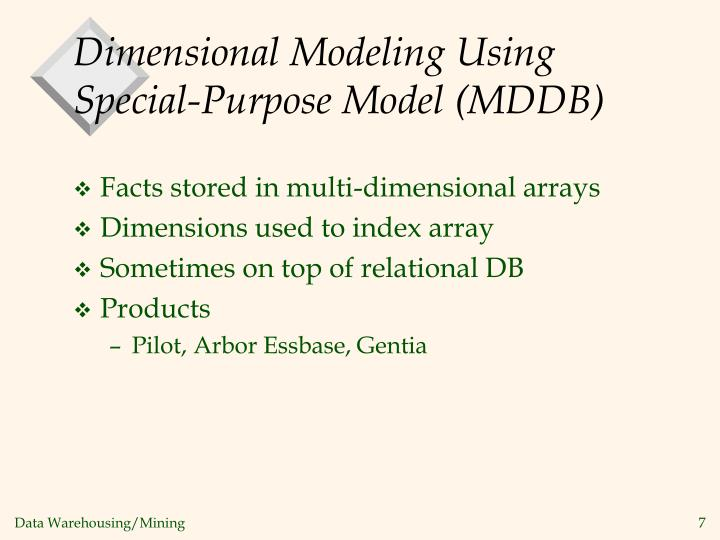 Dimensional Modeling Using Special-Purpose Model (MDDB)