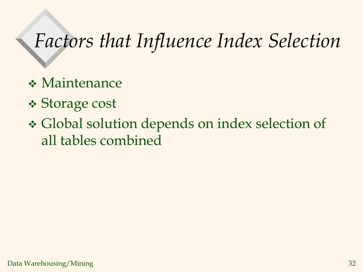 Factors that Influence Index Selection