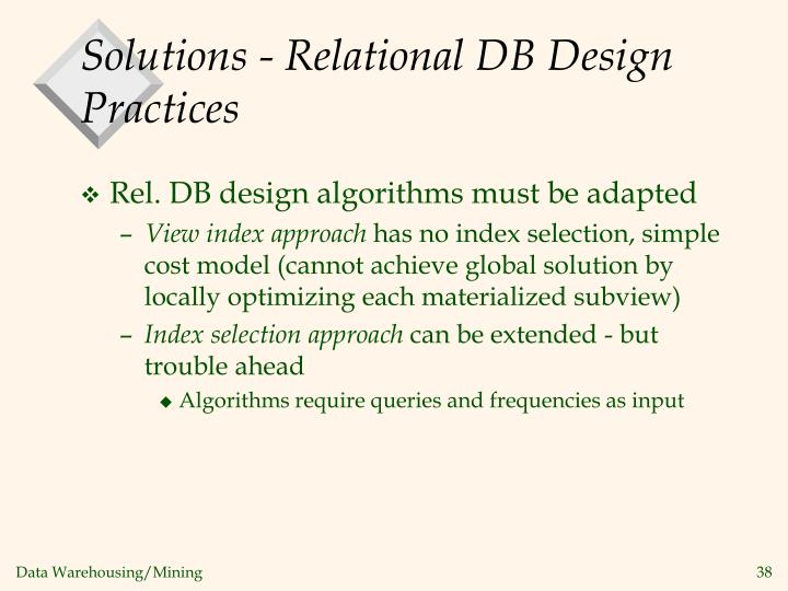 Solutions - Relational DB Design Practices