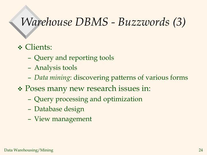 Warehouse DBMS - Buzzwords (3)