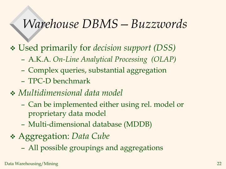 Warehouse DBMS—Buzzwords
