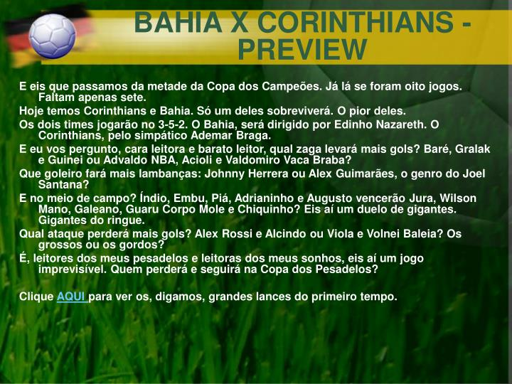 BAHIA X CORINTHIANS - PREVIEW
