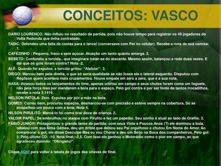 CONCEITOS: VASCO