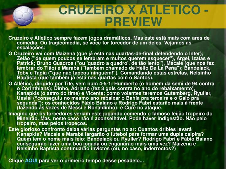 CRUZEIRO X ATLÉTICO - PREVIEW