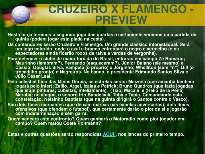 CRUZEIRO X FLAMENGO - PREVIEW