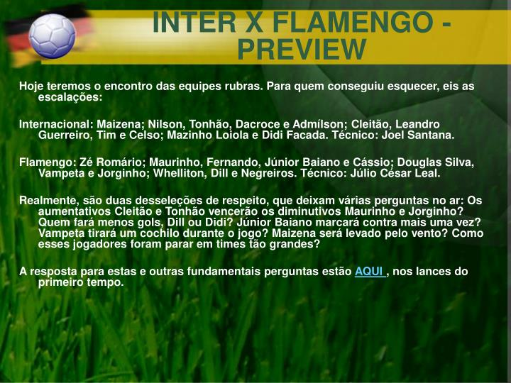 INTER X FLAMENGO - PREVIEW