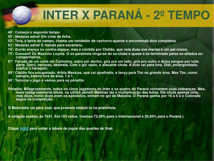 INTER X PARANÁ - 2º TEMPO