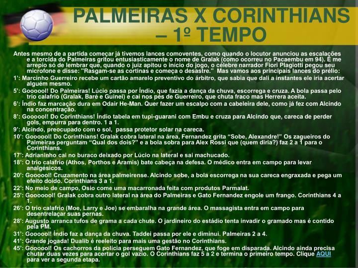 PALMEIRAS X CORINTHIANS – 1º TEMPO