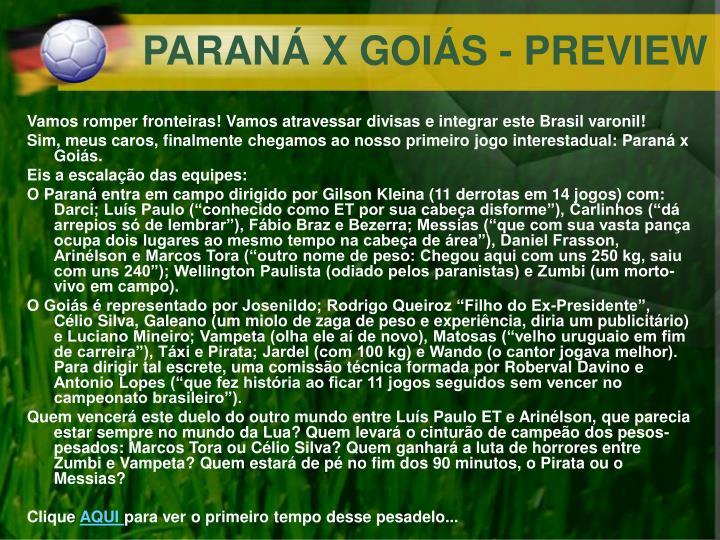 PARANÁ X GOIÁS - PREVIEW
