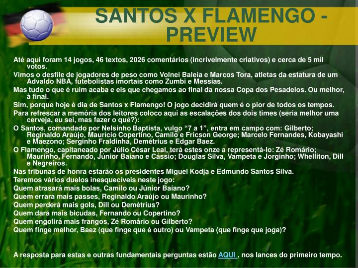 SANTOS X FLAMENGO - PREVIEW