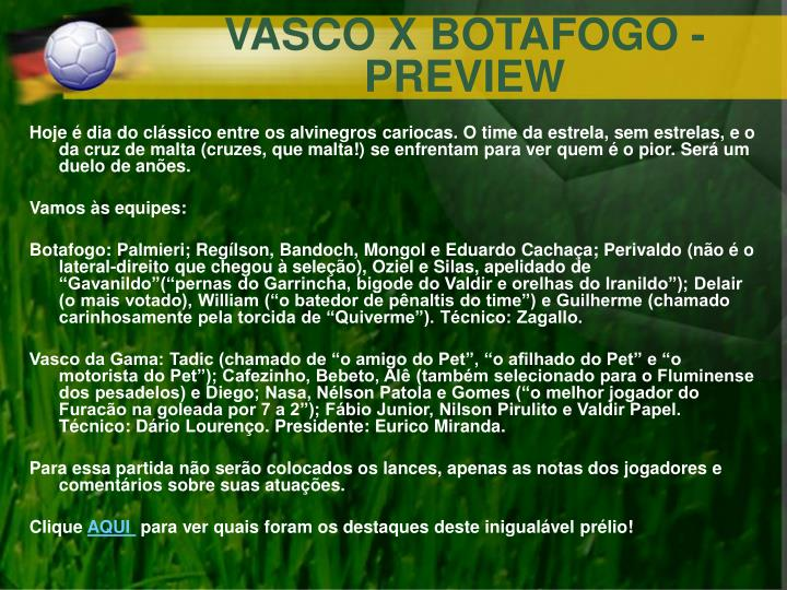 VASCO X BOTAFOGO - PREVIEW